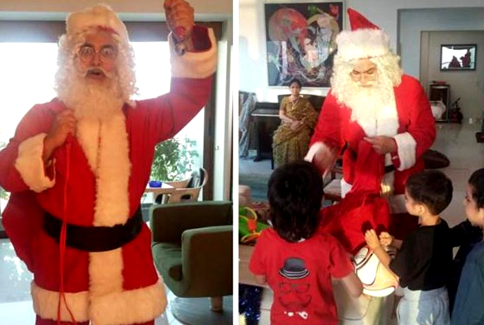 Aamir Khan dresses up as Santa for Christmas - YouTube